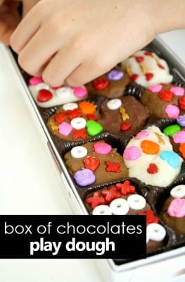 Box of Chocolates Play Dough Valentine's Day Activity for Kids #valentinesday #pretendplay