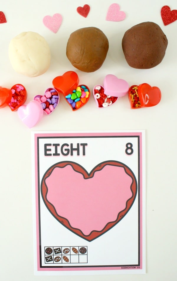 Play Dough Chocolates Valentine Math Activity with Free Printable #freebie #valentine #playdough