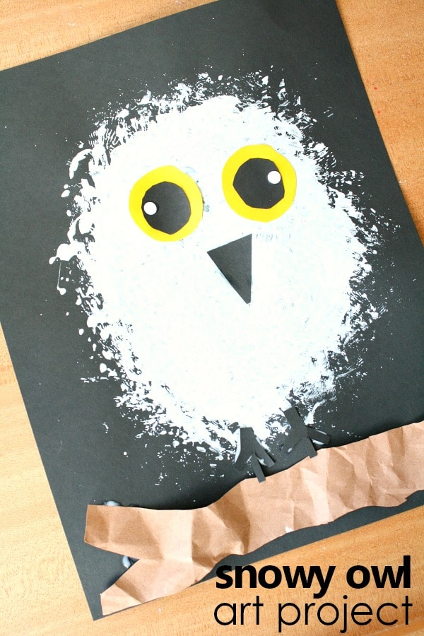 Snowy owl art project-Arctic animal preschool winter activity #kidart #arcticanimals #preschool