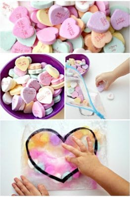 Candy Heart Sensory Squish Bag for Toddlers and Preschoolers-with a fun science twist! #valentinesday #sensoryplay #prek