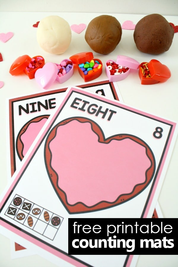 free printable play dough counting mats-Make chocolates out of play dough for a fun valentine math activity! #preschool #valentinesday #freeprintable
