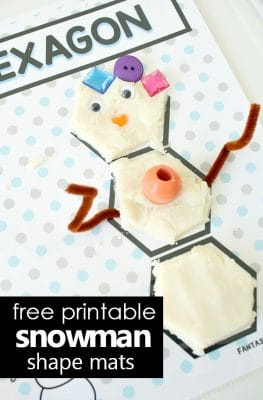free printable snowman shape mats for winter preschool learning