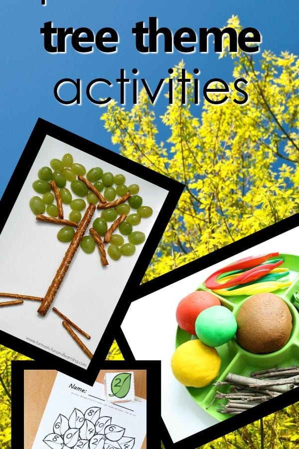Tree theme preschool activities planning guide-tons of activity ideas, free printables, lesson plans, videos, songs and more for teaching kids about trees #preschool #preschoolthemes #themes