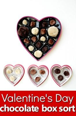 "Valentine's Day ""Chocolates"" Sorting and Fine Motor Play Activity #preschool #valentinesday #finemotor"