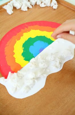 Adding Clouds to Paper Plate Rainbow Craft for Kids