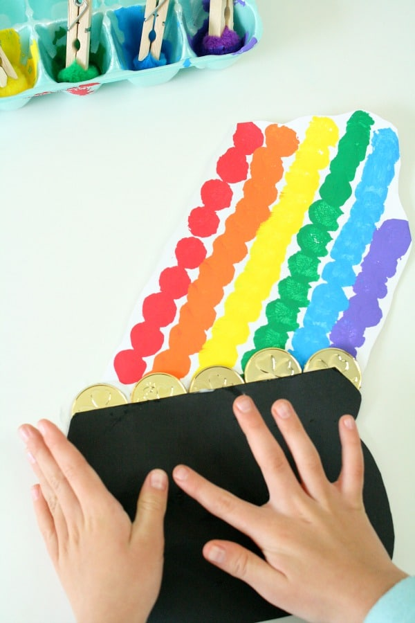 Finishing rainbow pot of gold craft