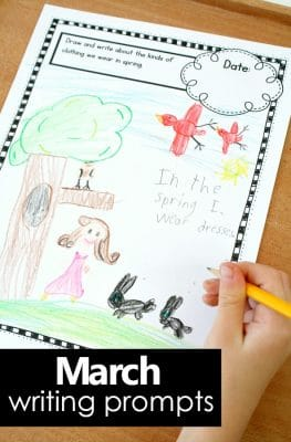 March writing journal prompts for kids. Perfect for preschool and kindergarten! #preschool #kindergarten #writingprompts
