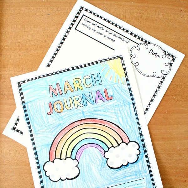 March writing journal prompts for kindergarten