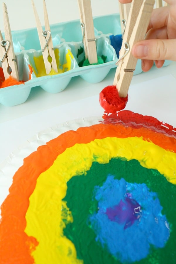 Paper Plate Rainbow Craft for Kids #rainbow #artproject #kidcrafts