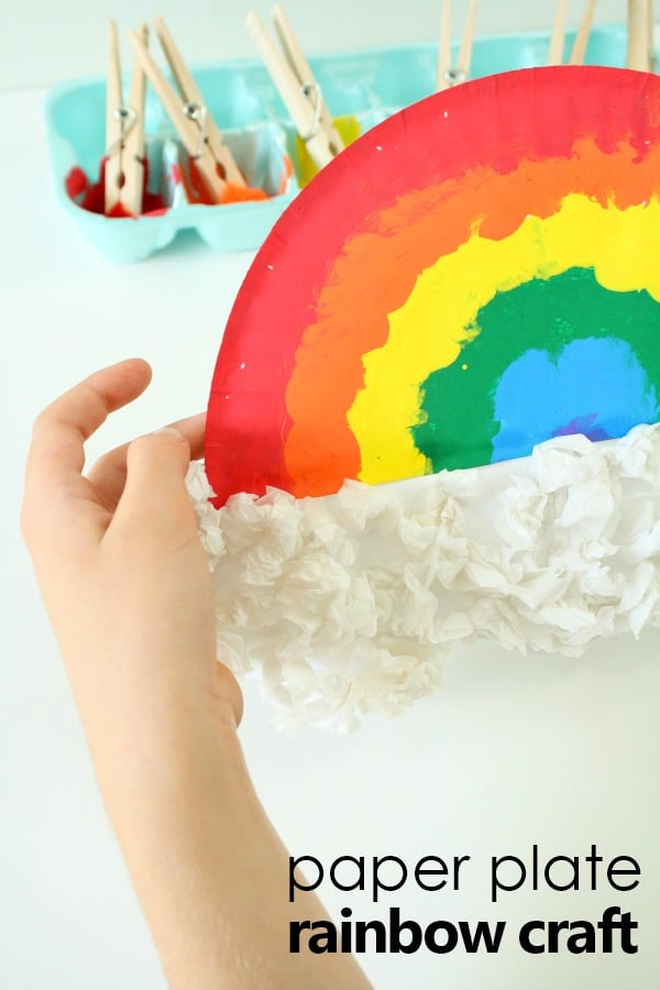 Pom Pom Painted Paper Plate Rainbow Craft for Kids-Fun spring art activity for kids #rainbow #kidscrafts #preschool #kindergarten