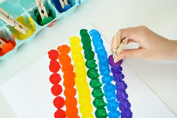 Pom Pom Painted Rainbow Art