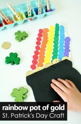 Pom Pom Painted Rainbow Pot of Gold St. Patrick's Day Craft for Kids #stpatricksday #rainbow #kidscrafts