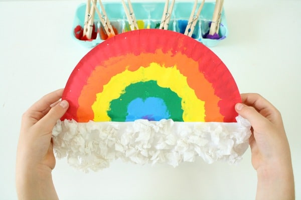 Spring Craft for Kids-Paper Plate Rainbow