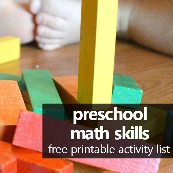 free printable preschool math skills activity list