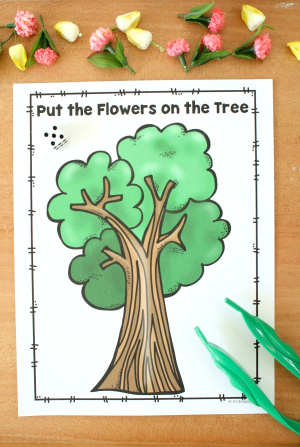 Counting Flowers with Free Printable Spring Math Game for Preschoolers