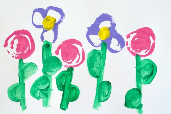 Flower Stamping Preschool Art Project