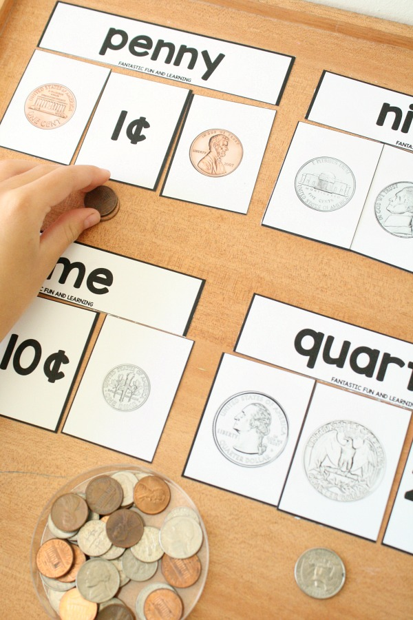 Free Printable Coin Puzzles and Sorting Mats for Kindergarten and First Grade