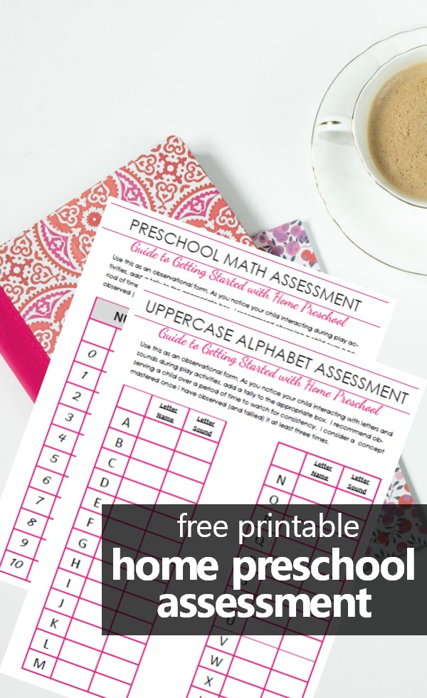 Free Printable Simple Home Preschool Assessment for Tracking Early Learning #homepreschool #preschoolathome