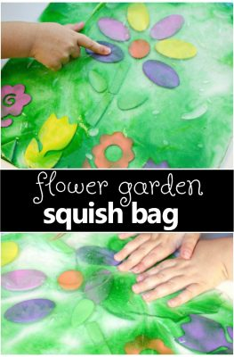 Flower Garden Sensory Squish Bag-Spring theme fun for toddlers and preschoolers. Great for your preschool flower theme too!