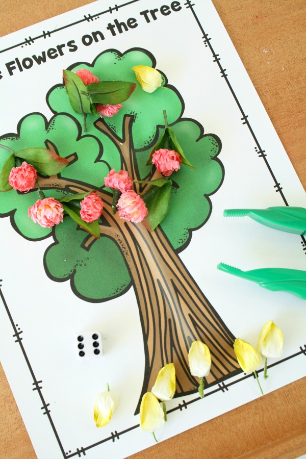Practice Subtraction with Free Printable Spring Tree Math Activity for Preschool