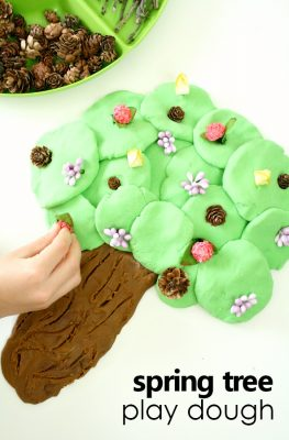 Spring Tree Play Dough Activity for Preschool #playdoh #kidsactivities #finemotor