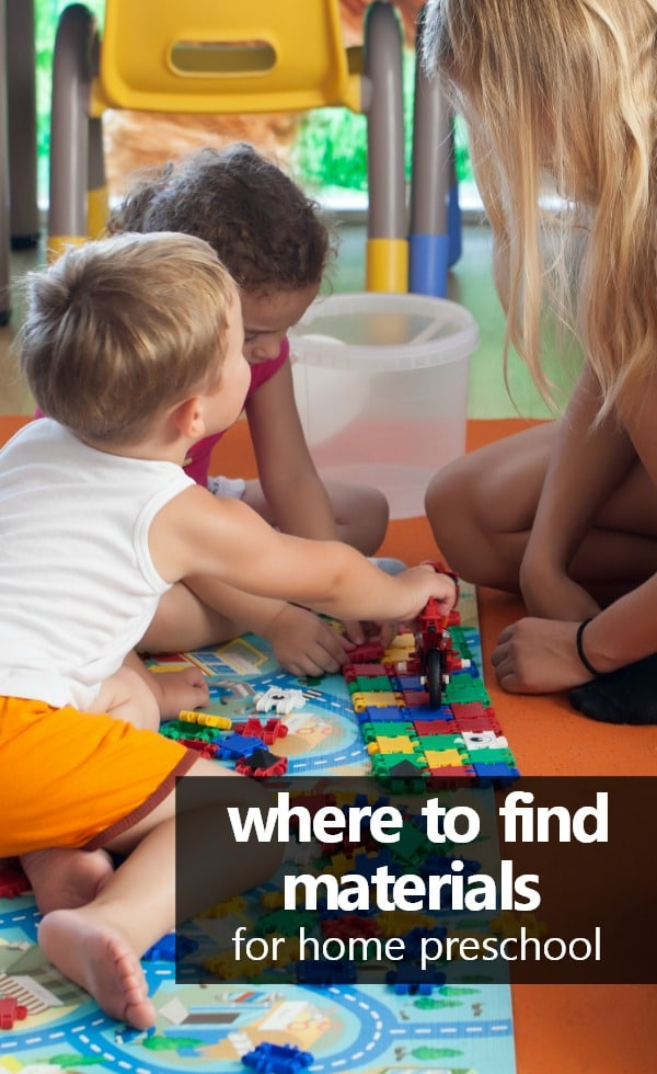 Tips and Ideas for Where to Find Materials for Home Preschool #homepreschool #preschoolathome
