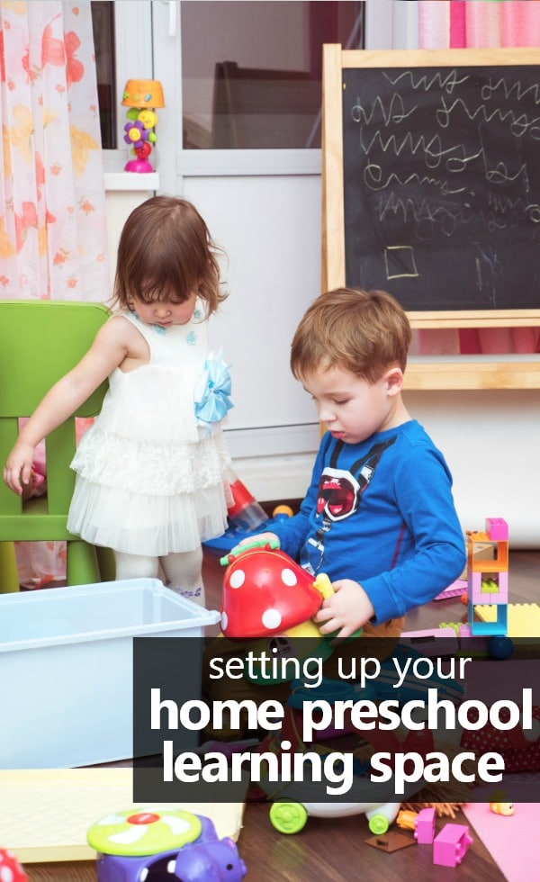 Tips for setting up your home preschool learning space. #homepreschool #preschoolathome