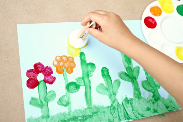 Pom Pom Painted Flower Craft for Kids
