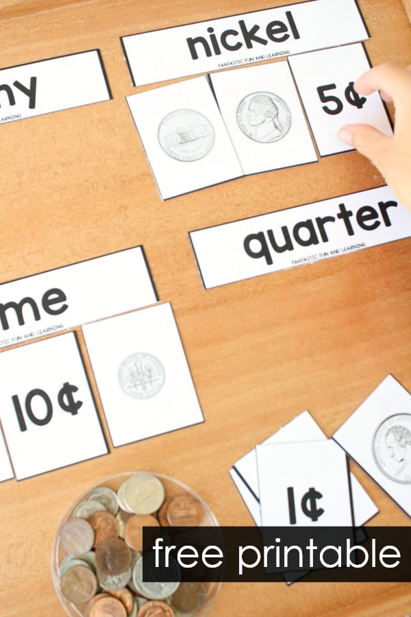 free printable coin matching puzzles for kindergarten and first grade