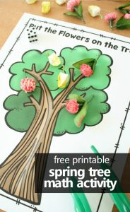 free printable spring tree math activity for preschool and kindergarten. Practice counting, addition, and subtraction as you work fine motor skills too. #preschool #kindergarten #freeprintable