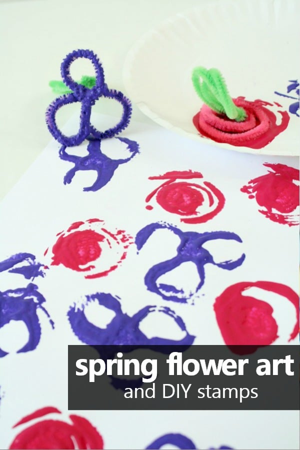 Spring flower stamping art and how to make your own DIY stamps. Great for a preschool flower or garden theme in spring! #preschool