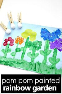 Create gorgeous spring art with these pom pom painted flowers for kids. Such a fun flower art project for kids of all ages. #flowers #artprojects #spring
