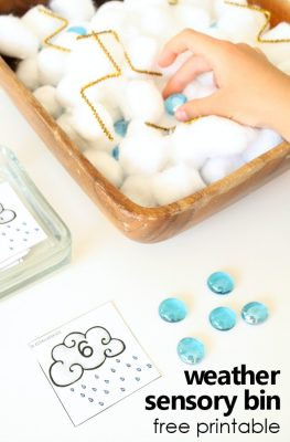 Easy weather sensory bin for counting and number acitivities during a preschool rain theme #preschool #spring #freeprintable