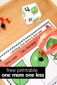 Free Printable One More One Less Ladybug Math and Fine Motor Activity #freeprintable #kindergarten
