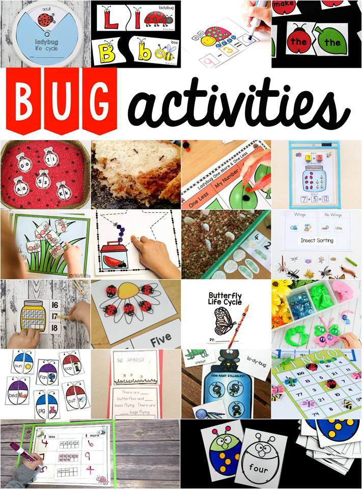 Bug Activities for Preschool and Kiindergarten. Bug inspired activities for learning the alphabet, counting, addition, sight words and more. #preschool #kindergarten