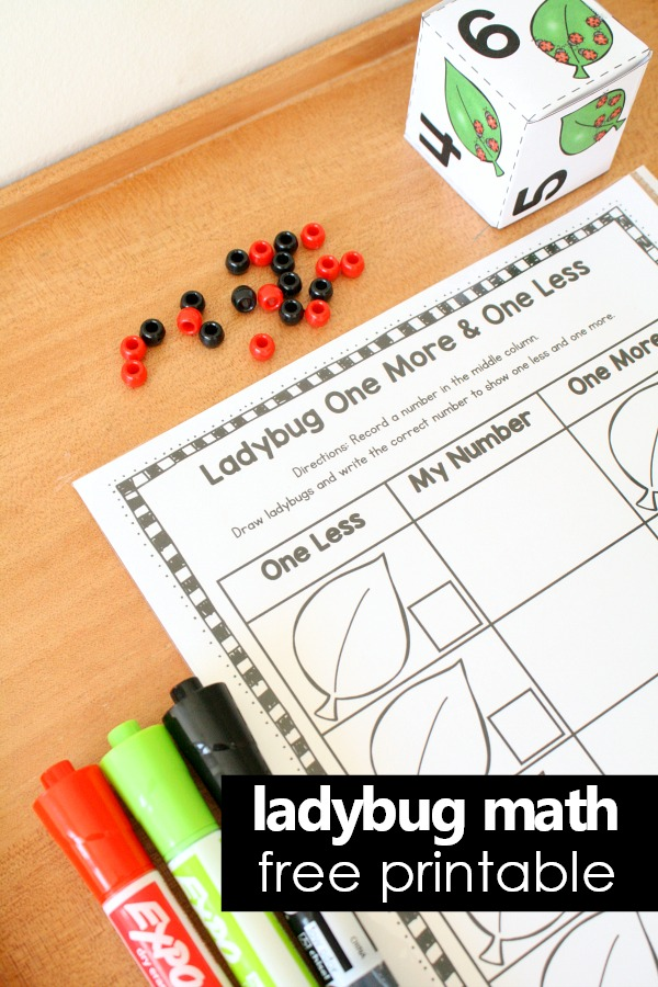 Ladybug Math Printable-One More One Less Freebie #ladybug #math #preschool