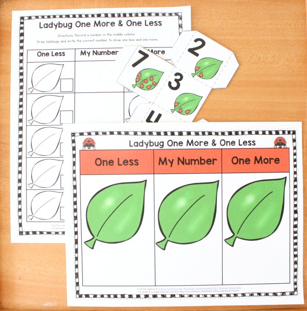 Ladybug One More One Less Free Printable