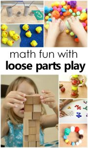 Math and Loose Parts Play-hands-on learning and math skills with loose parts play for preschool and kindergarten #preschool #kindergarten #loosepartsplay