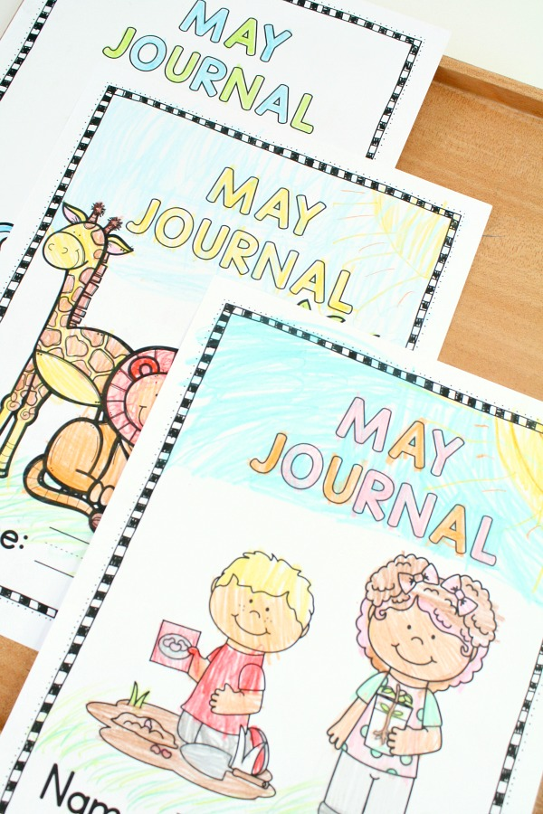 May Kindergarten and Preschool Writing Journal Covers and Journal Prompt Ideas