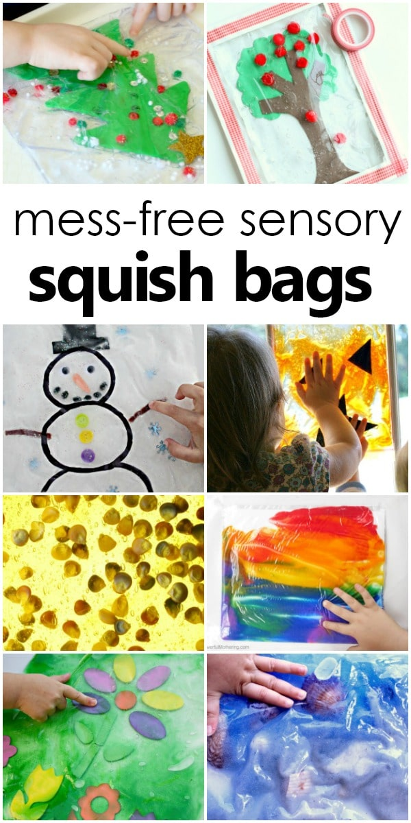 Mess-Free Sensory Squish Bags-Sensory play for babies, toddlers, and preschoolers