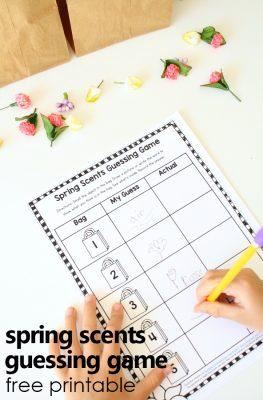 Spring Scents Guessing Game-Spring Science Activity for Preschool and Kindergarten #preschool #freeprintable #kindergarten