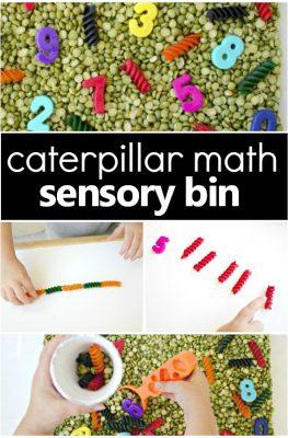 Counting Caterpillars Spring Sensory Bin
