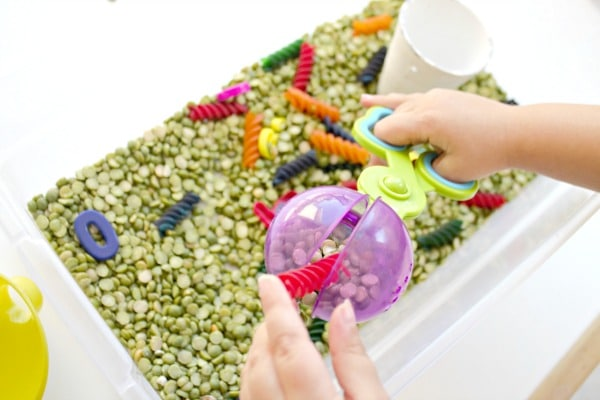 caterpillar math scooping and sensory play