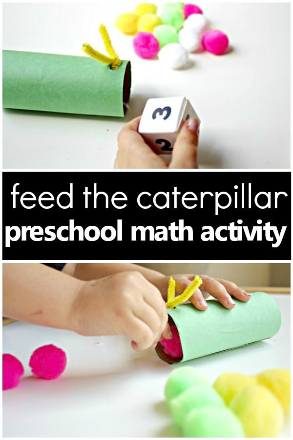 Feed the Caterpillar Spring Math Activity-hands-on counting practice for preschool and kindergarten #caterpillar #preschool #kindergarten