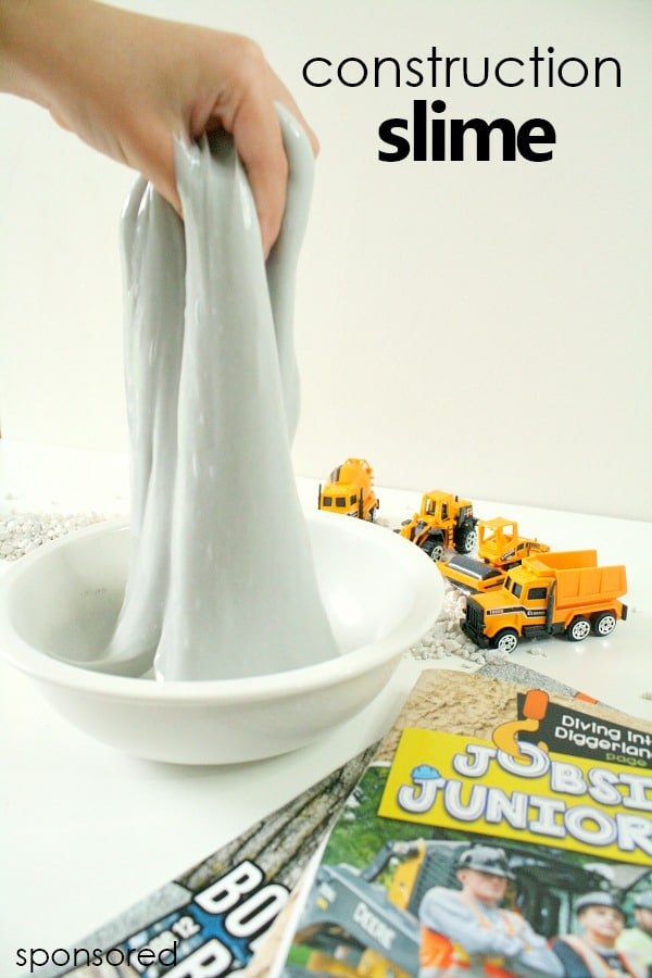 Construction Site Slime inspired by Jobsite Juniors Kids' Magazine full of construction fun for kids from 5 to 10 #slime #sensory #kids