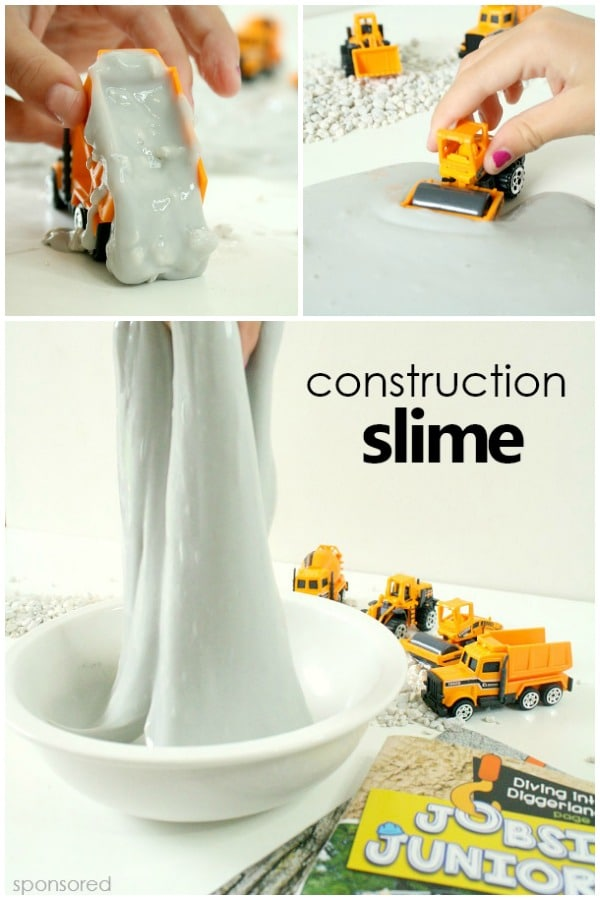 Construction Slime Sensory Play for Kids inspired by Jobsite Juniors Magazine for Kids #slime #sensoryplay #kidsactivities