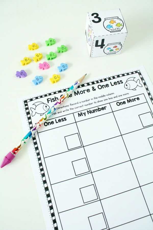 Free Printable Fish One More One Less Number Sense Math for Preschool and Kindergarten