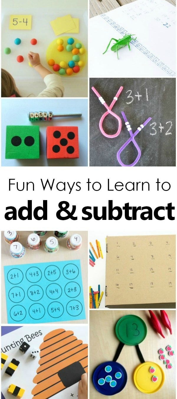Fun Ways to Learn to Add and Subtract with hands-on math fact games for kids #addition #firstgrade #kindergarten