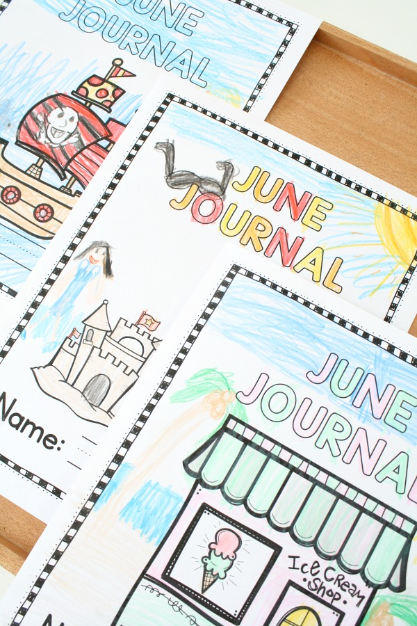 June Journal Covers and Writing Prompts #preschool #kindergarten #writingprompts