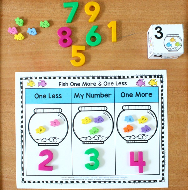 One More and One Less Hands-on Math for Ocean or Fish Theme